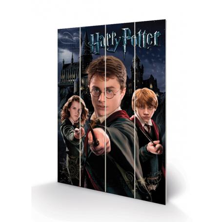 Stampa Harry-Hermione-Ron su legno