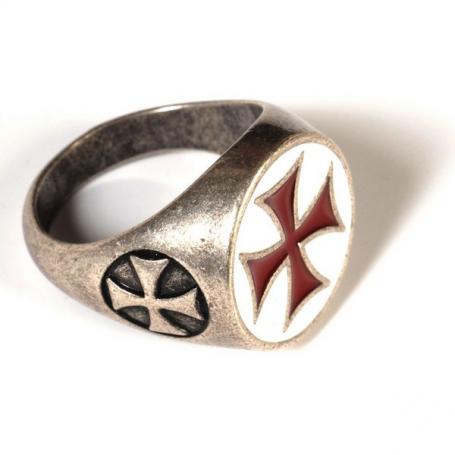 Anello Croce Templare Smaltato