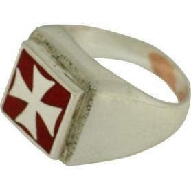 Anello Croce Templare Smaltato in Argento