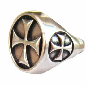 Anello Croce Templare in Argento
