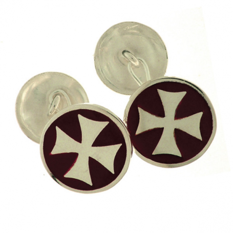 Gemelli Templari in Argento smaltati in rosso