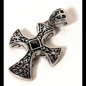 Ciondolo Gotico Croce dal Cuore Nero